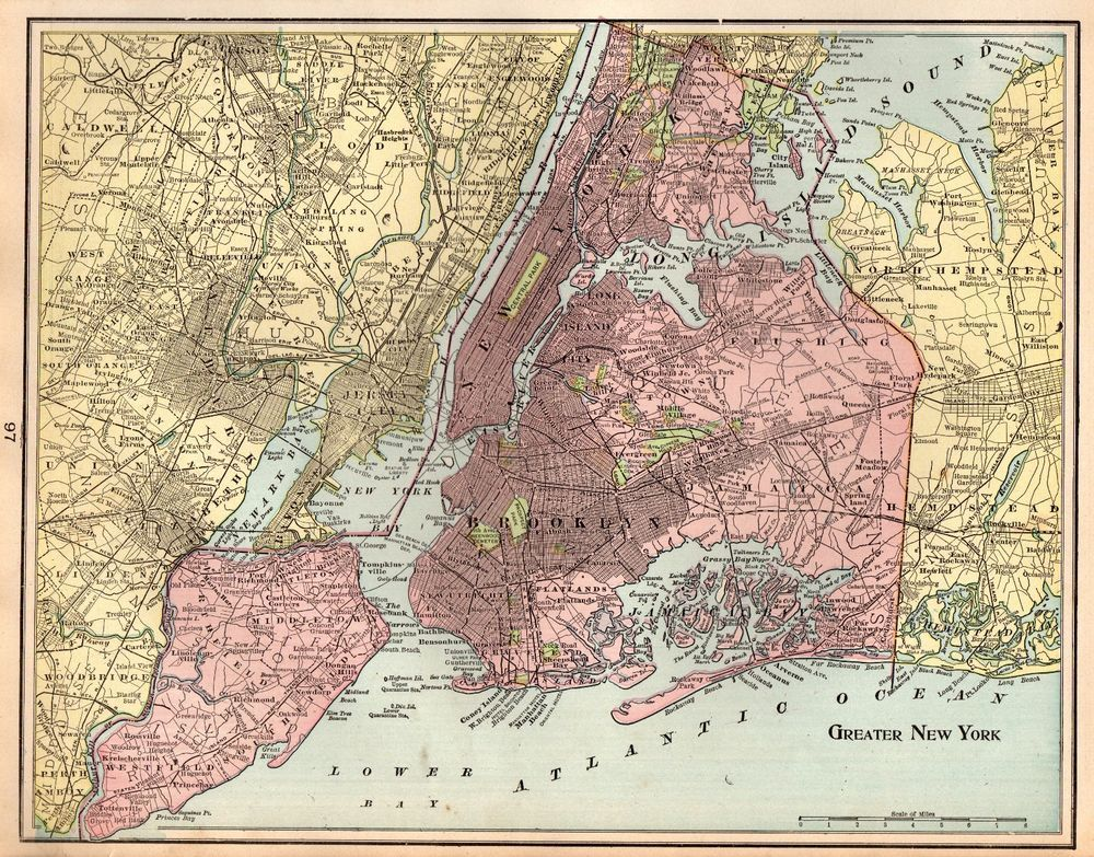 1901 Antique Greater New York City Map Manhattan Jersey City