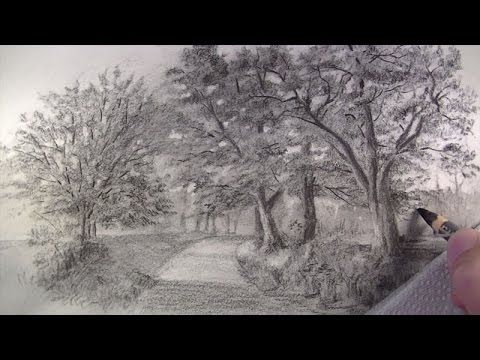 How To Draw With Charcoal Pencils Landscape Sketching Landscape Sketch Charcoal Drawing Tutorial Charcoal Drawing