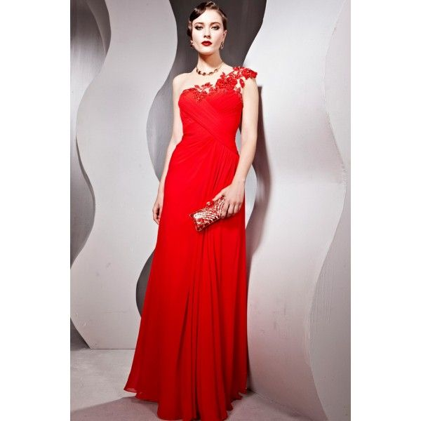2012 Red One-shoulder Chiffon Lace Formal Evening Dress-blw
