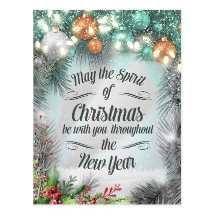 Merry Christmas  Happy New Year Holiday Greetings Postcard - merry christmas postcards postal family xmas card holidays diy personalize
