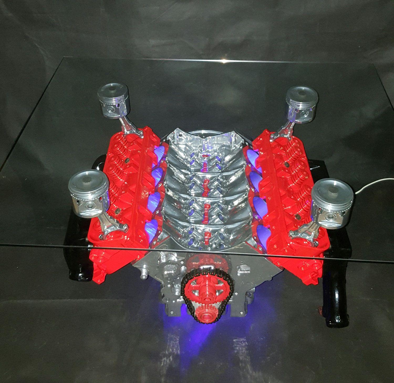 Table Basse Moteur V8 Land Rover Eclairage Led De La Boutique