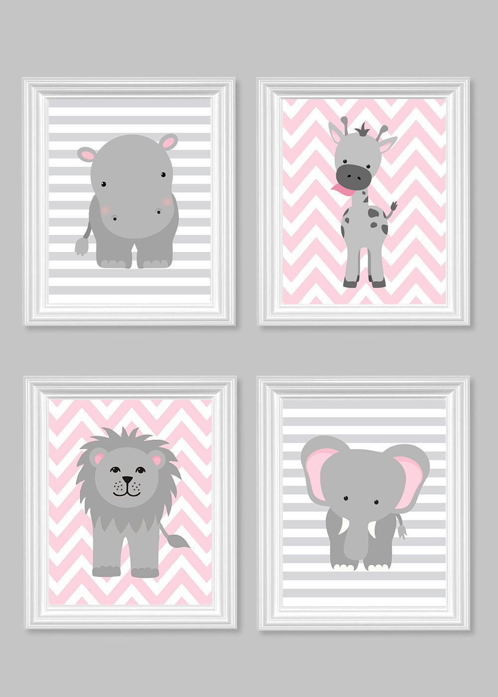 Girl\'s Room Decor, Gray and Pink, Girl Zoo Nursery, Safari Nursery ...