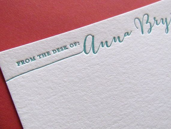 letterpress personalized stationery from the desk of letterpress