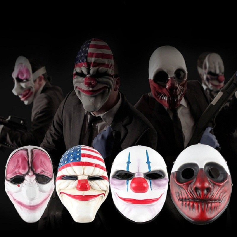 1pcs PVC Halloween Mask Clown Scary Payday 2 Halloween Masks For ...