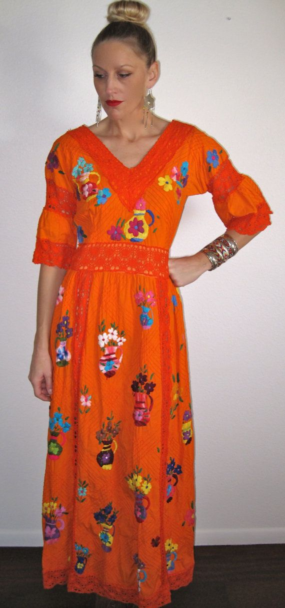 Orange Embroidered Mexican Wedding Dress  Vow Renewal