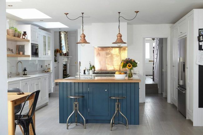 rückwand der küche kupfer-industrial-herd-gestaltung-lampen ...