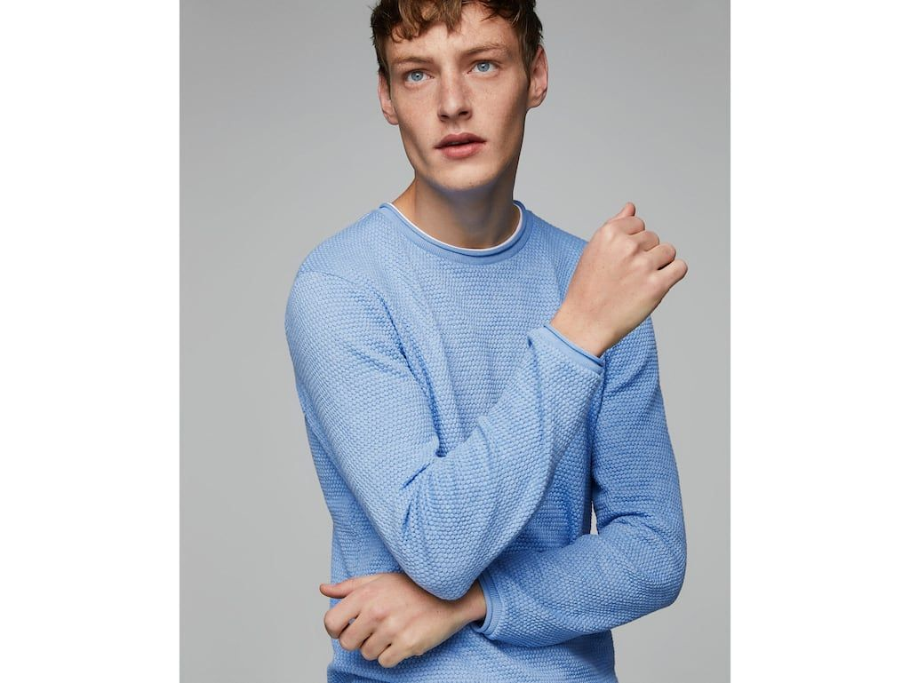 a147534ef TEXTURED WEAVE SWEATER WITH CONTRASTING T-SHIRT DETAIL - Available in more  colours