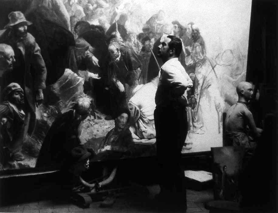 Annigoni, Pietro (1910-1988) Working on Sermon on the Mount (Photographer Unknown to Me)   by RasMarley