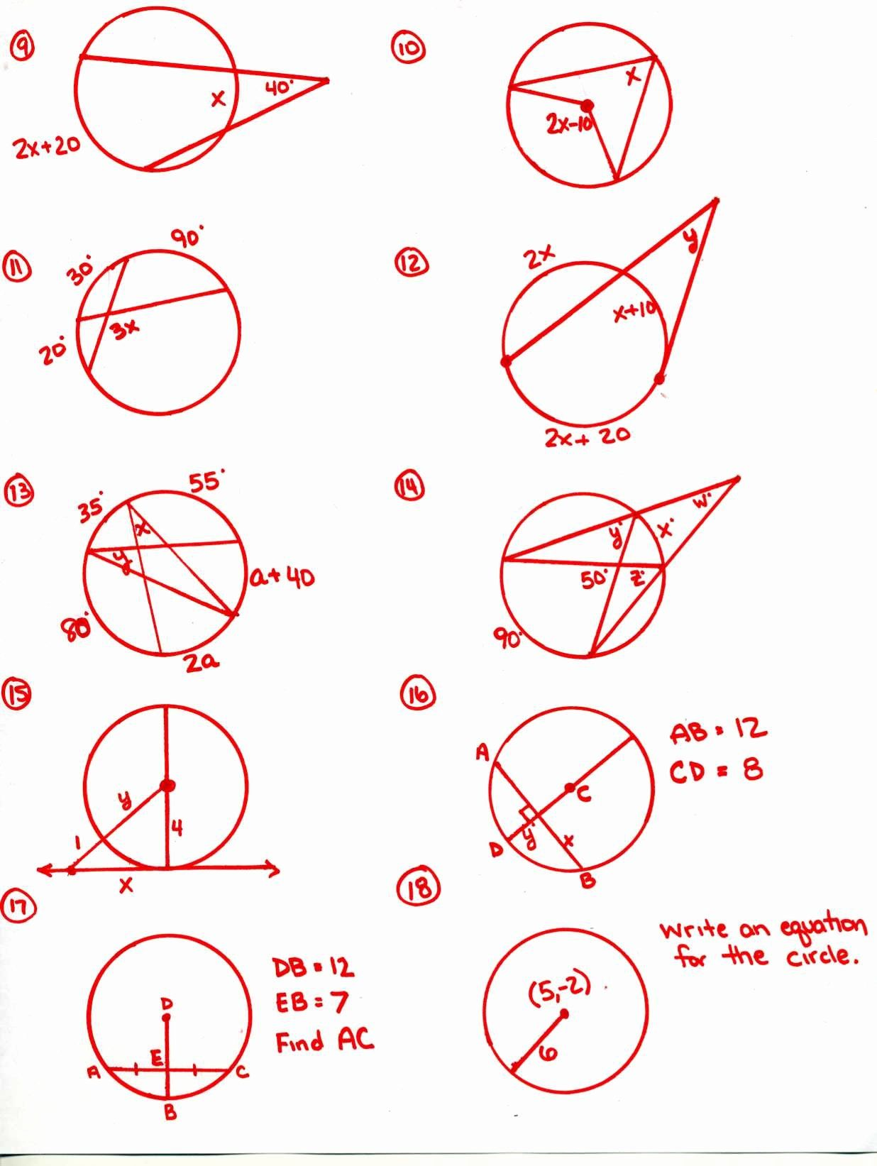Angles In A Circle Worksheet Lovely Circle Theorems Match