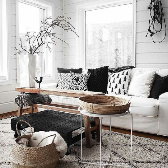 un salon noir et blanc boh me et cosy gr ce un tapis. Black Bedroom Furniture Sets. Home Design Ideas