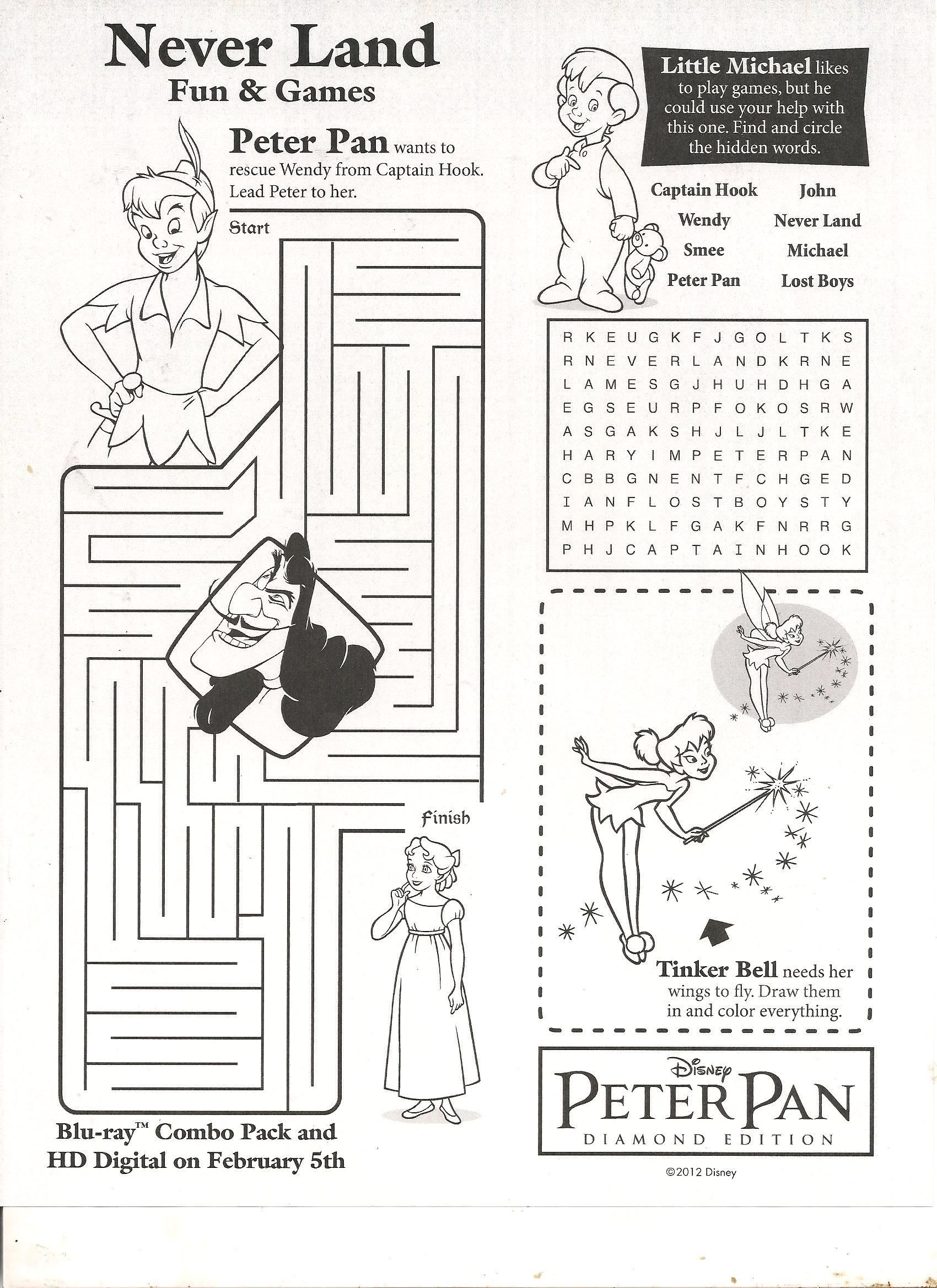Peter Pan fun and games activity sheet Reading and