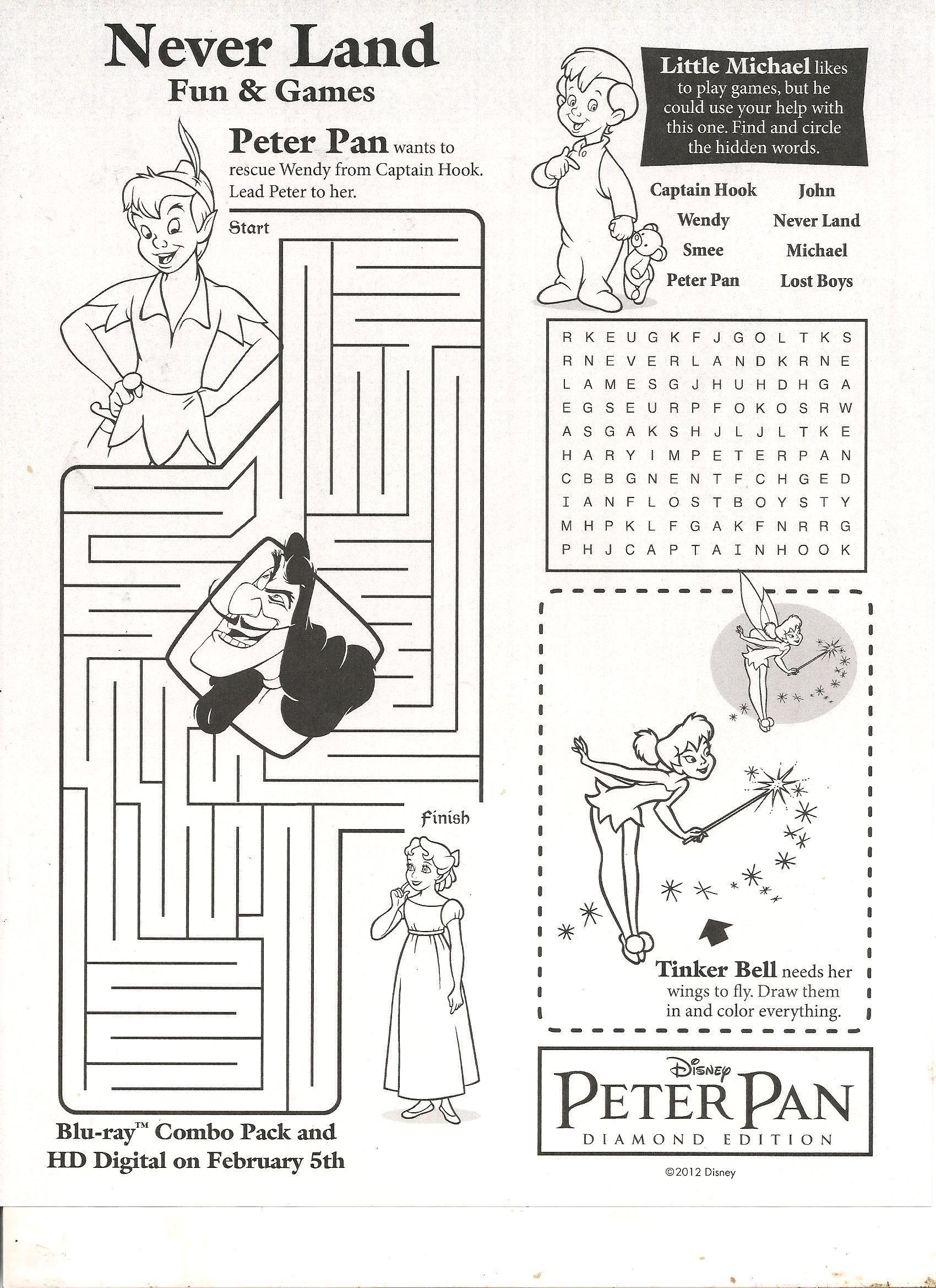 Peter Pan Fun And Games Activity Sheet