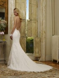 Raylen by Robert Bullock Bride - Alencon Lace low back trumpet gown with three beaded strand back detail.