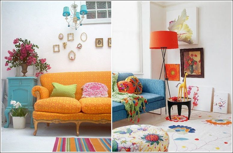 Decor Ideas In Bohemian Style I Love The Orange Sofa With Blue End Table