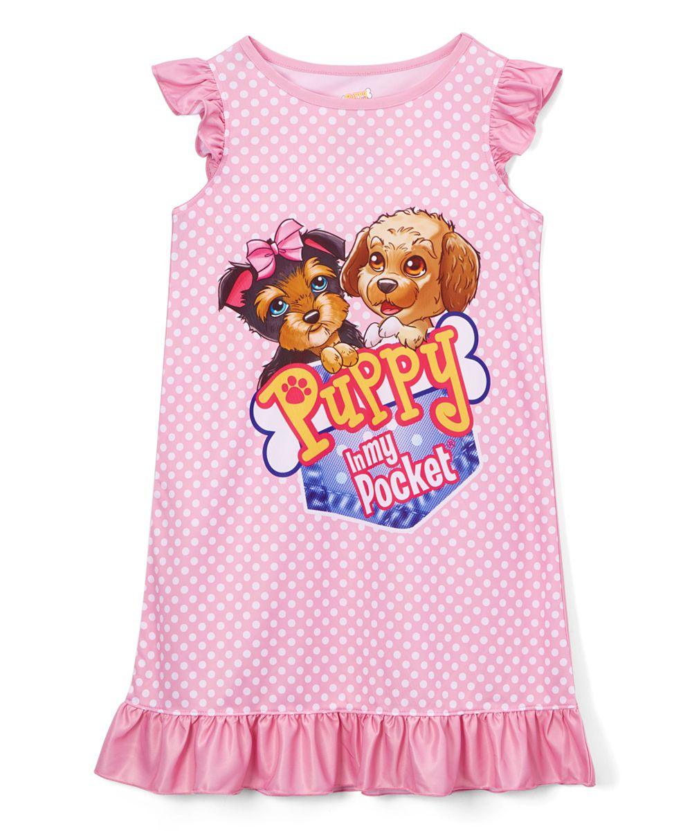 Pink Polka Dot Puppy In My Pocket Nightgown Girls
