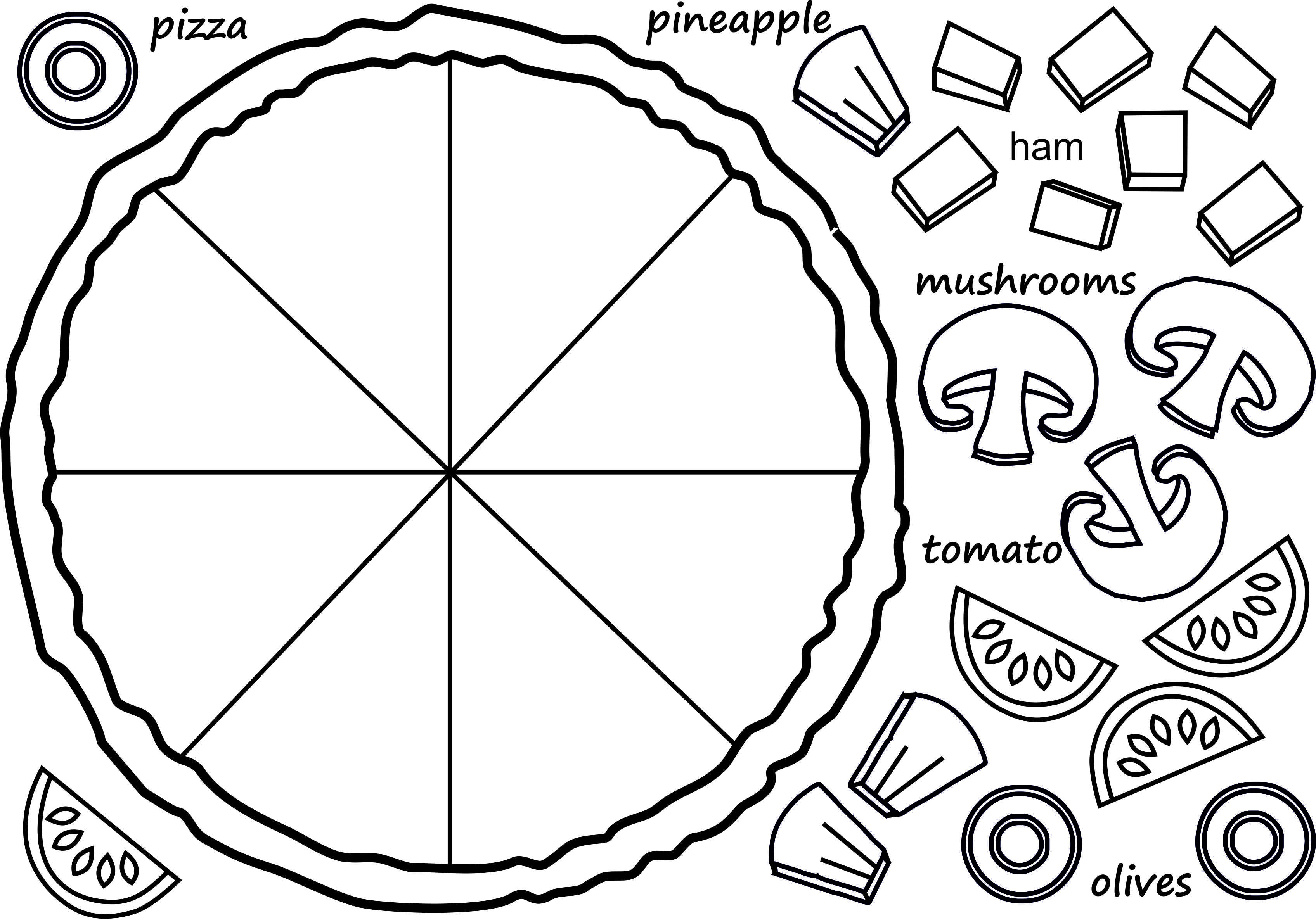 Pizza Coloring And Fractions En