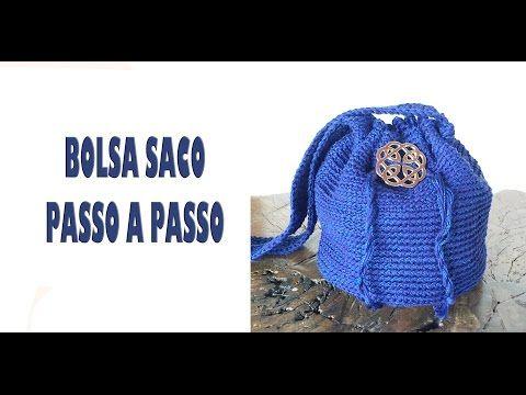 986bb19b411a4 DIY Bolsa saco em crochê (crochet bucket bag) - YouTube