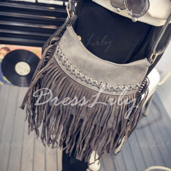 Trendy Fringe and Criss-Cross Design Women's Crossbody Bag