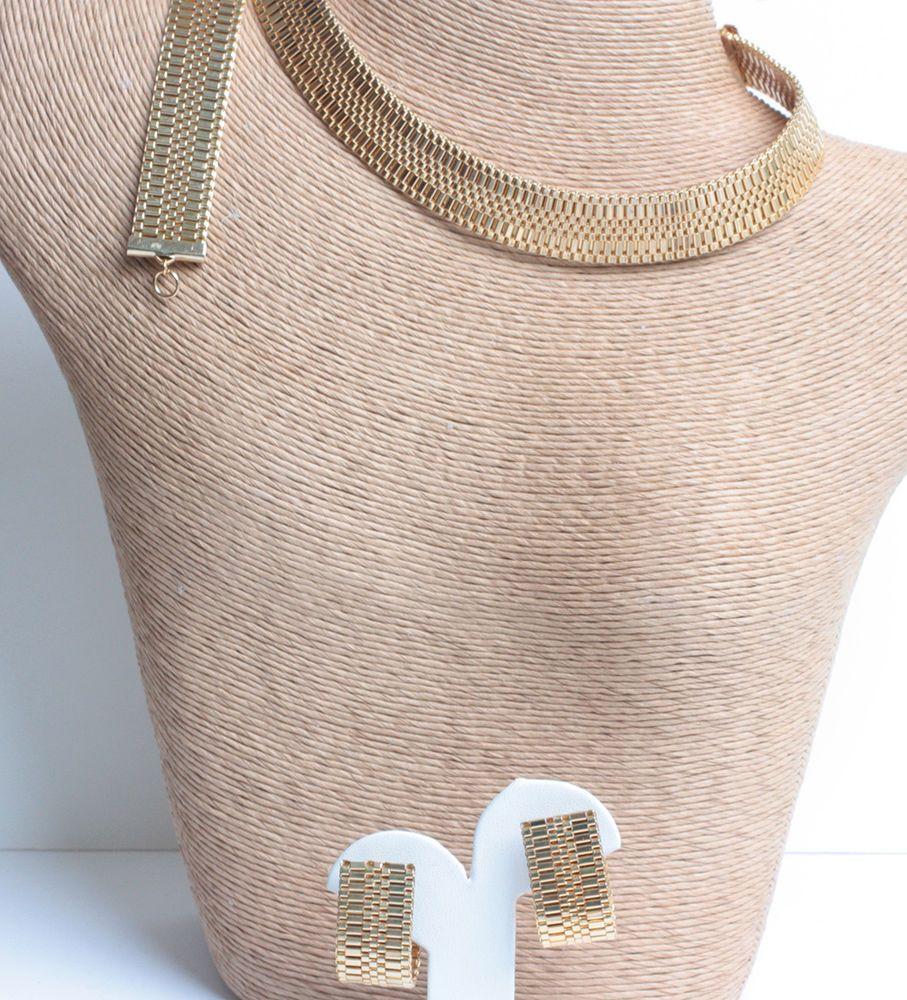 Details about vintage gold mesh bracelet necklace earrings set