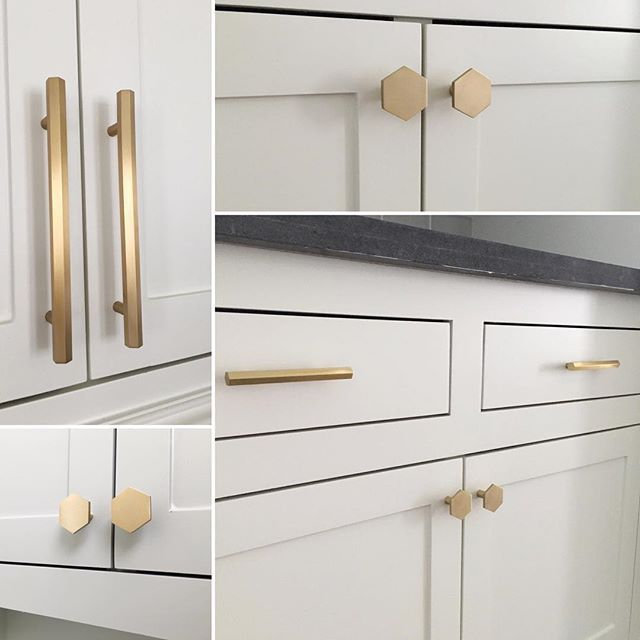 This Brass Hex Cabinet Hardware From Cb2 Is Exactly The Finishing Touch I Was Looking For And L Brass Kitchen Hardware Emtek Cabinet Hardware Cabinet Hardware