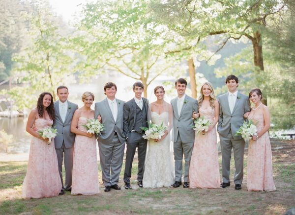 North Carolina Camp Wedding By Olivia Griffin Bridal Parties Gray Pink Party