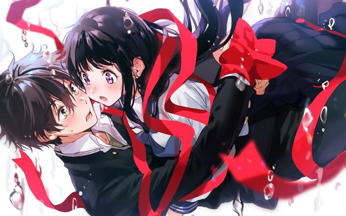 Download Wallpapers Hyouka Houtarou Oreki Eru Chitanda Art Anime Characters Protagonists Japanese Manga