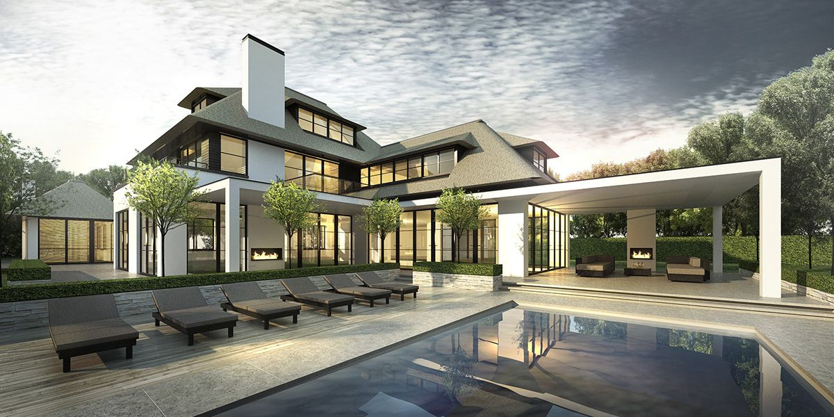 Modern klassiek villa belgie riet gekaleid for Woningen moderne villa