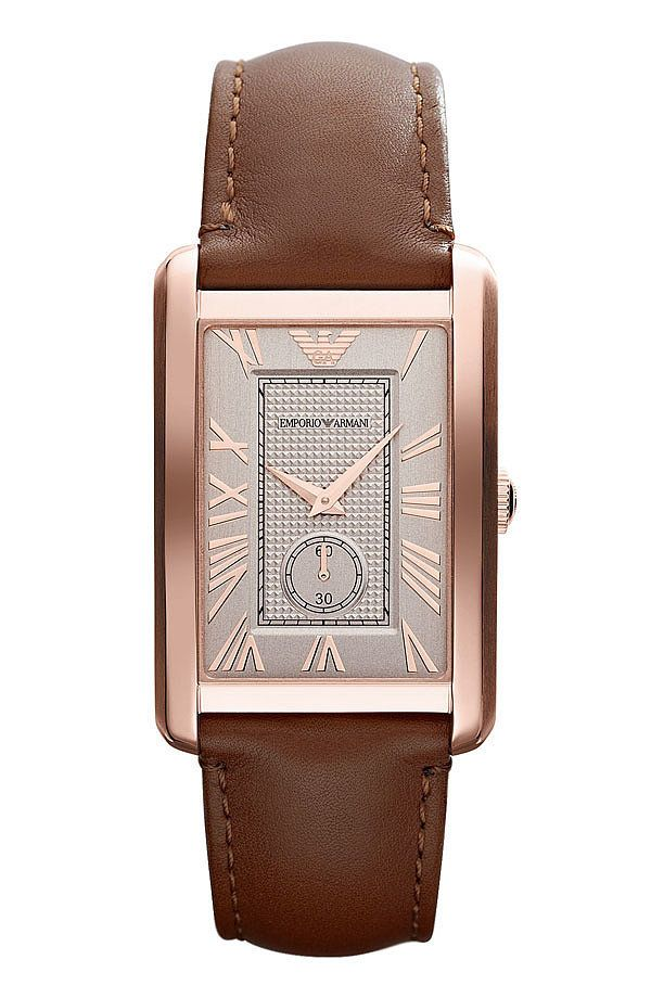 35939fd3ab5 Emporio Armani rectangular face brown leather and rose gold watch