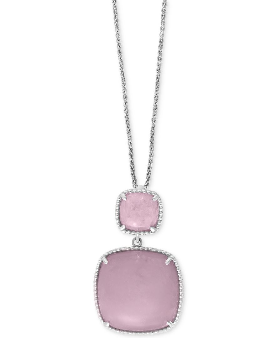 efc72ae15637cb Serenity by Effy Rose Quartz Pendant Necklace (26-9/10 ct. t.w.) in  Sterling Silver