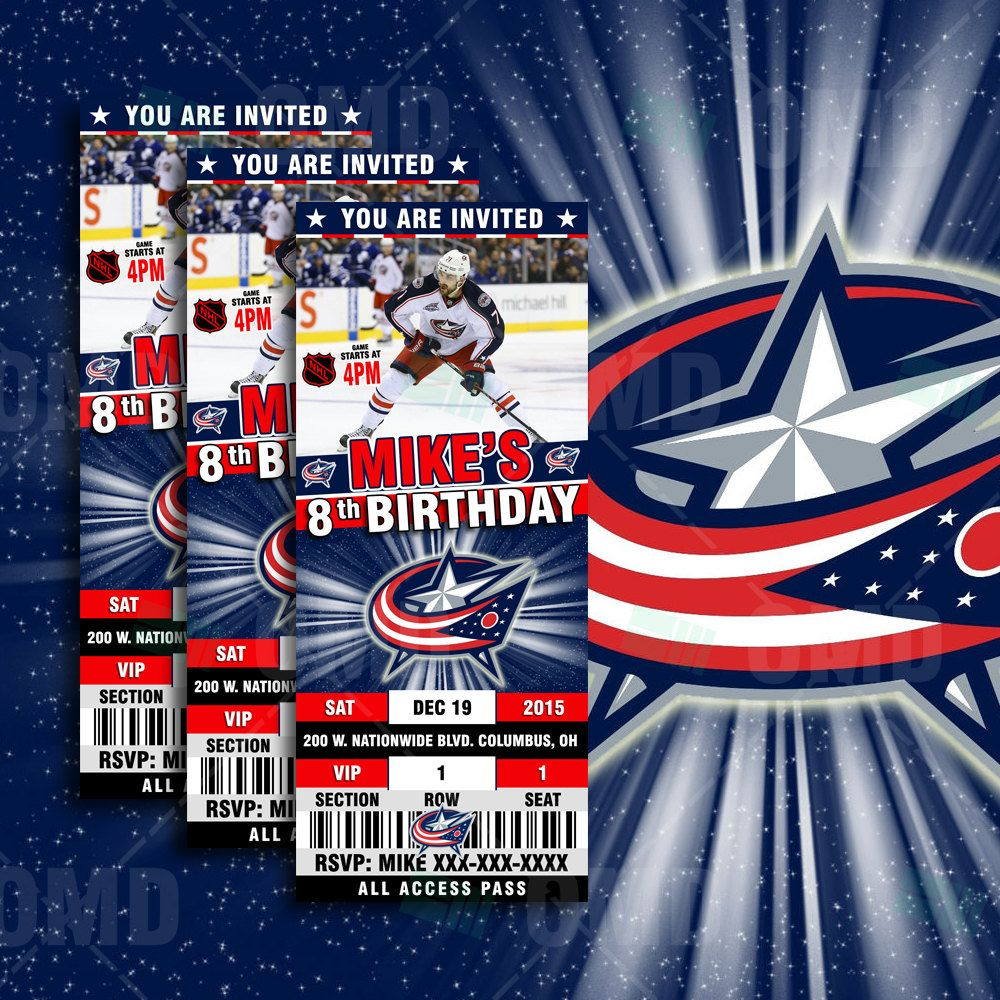 2.5x6 Columbus Blue Jackets Hockey Sports Party Invitation, Blue ...