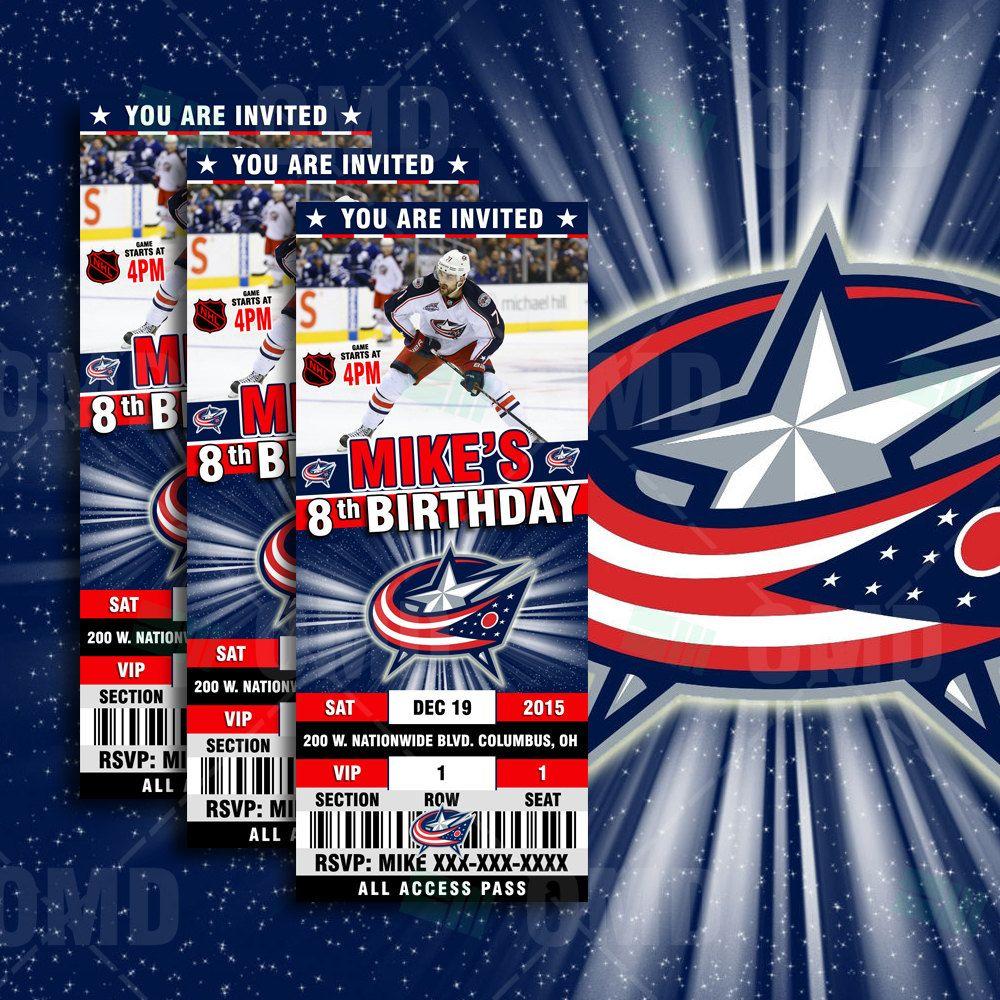 2.5x6 Columbus Blue Jackets Hockey Sports Party Invitation, Blue ...