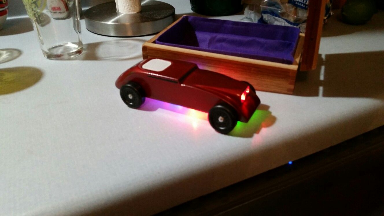 Pinewood Derby car with Bluetooth speaker and led lighting