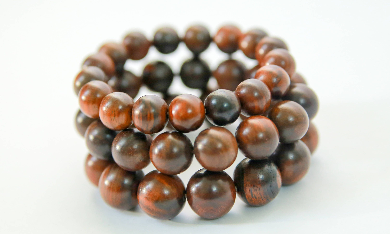 Red original natural wood bracelet for man or women meditation