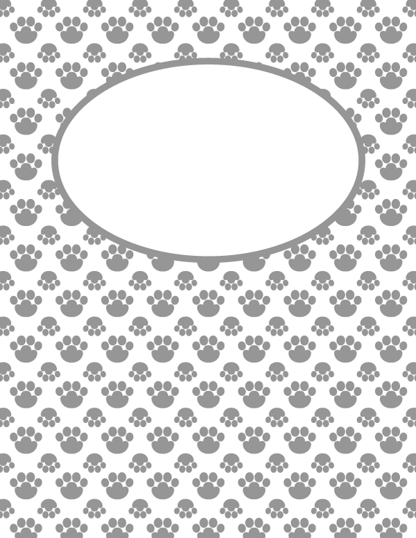 Free Printable Gray Paw Print Binder Cover Template Download The