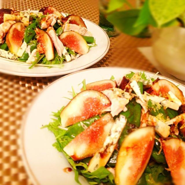 レシピとお料理がひらめくSnapDish - 37件のもぐもぐ - Salad: chicken breast, green beans, fig and blue cheese with walnut oil and balsamic vinegar dressing. by Kirk Awiam