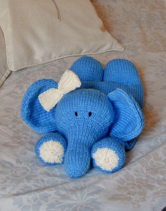 Knitting Pattern. Elle Elephant Pyjama or Nightie Case