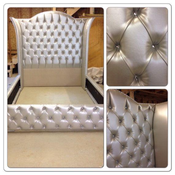 Luxurious Wingback Tufted Bed with Rhinestones   Diamante de ...