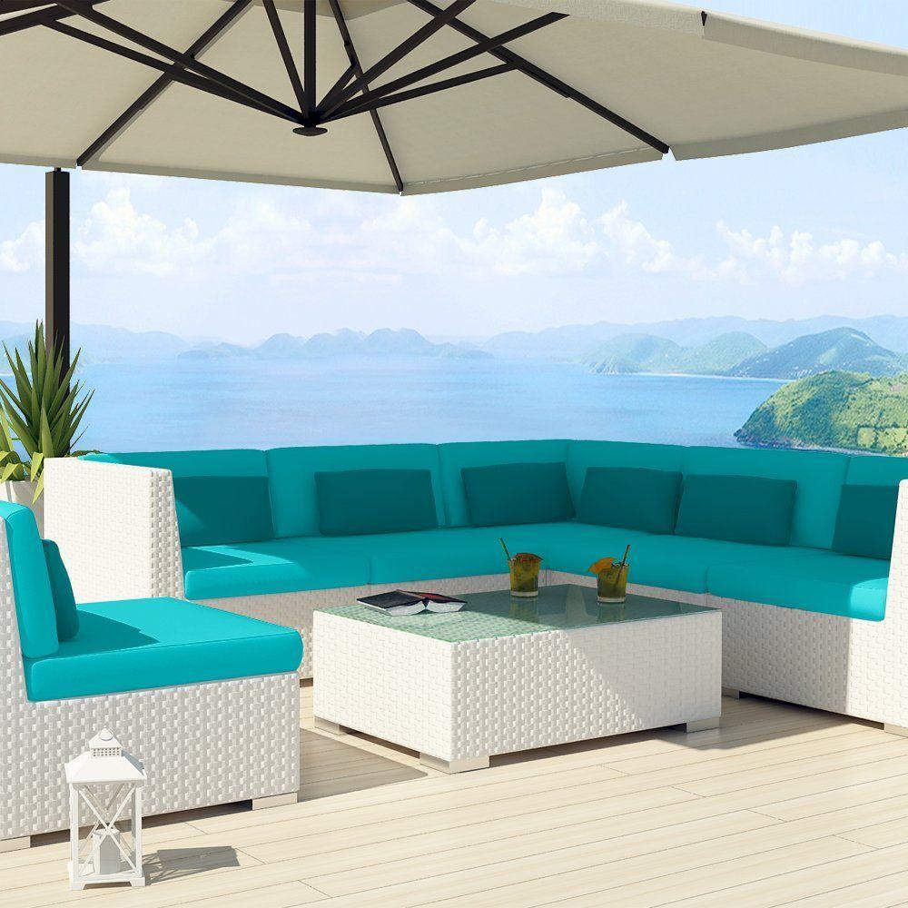 Elegant Amazon.com : Uduka Outdoor Sectional Patio Furniture White Wicker Sofa Set  Luxor Turquoise All