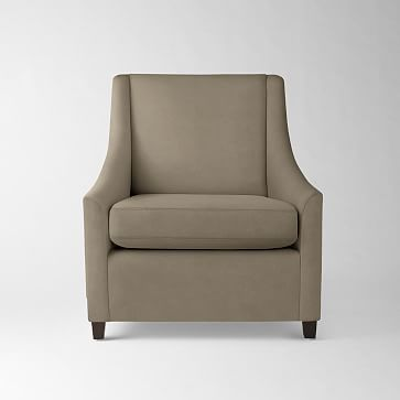 Sweep Arm Chair:Poly:Performance Velvet:Stone:Chocolate ...