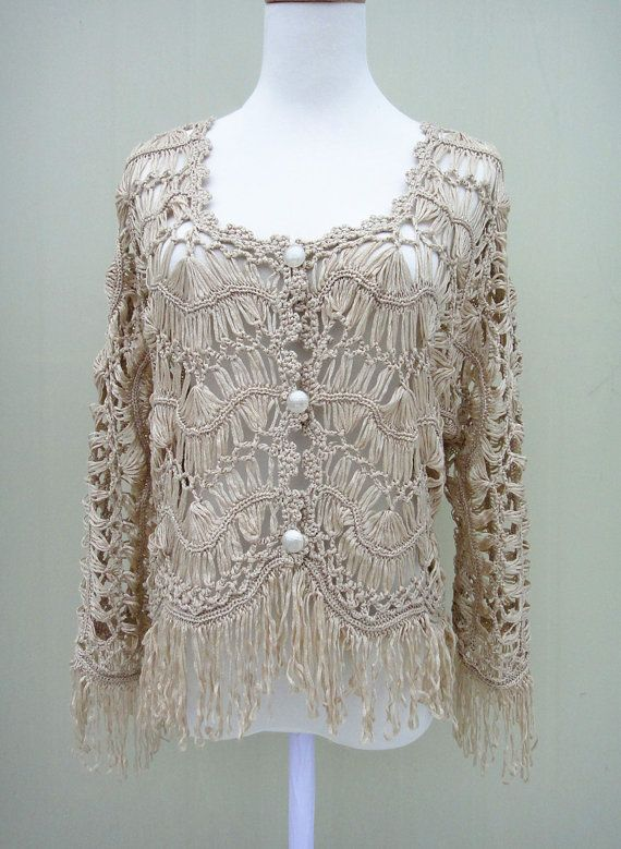 Fringe Crochet Cardigan Sweater Long Sleeve Button Down Products
