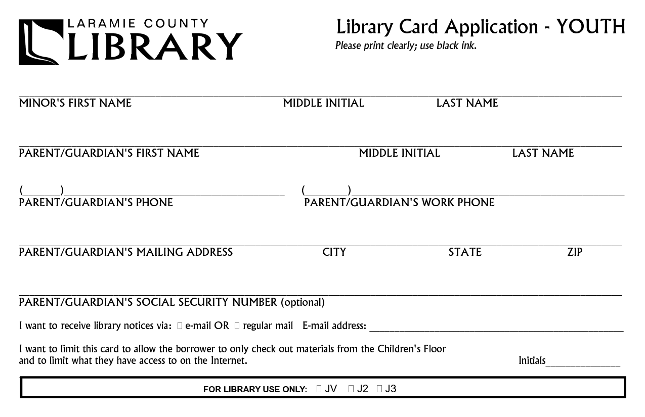 library card form library card application youth