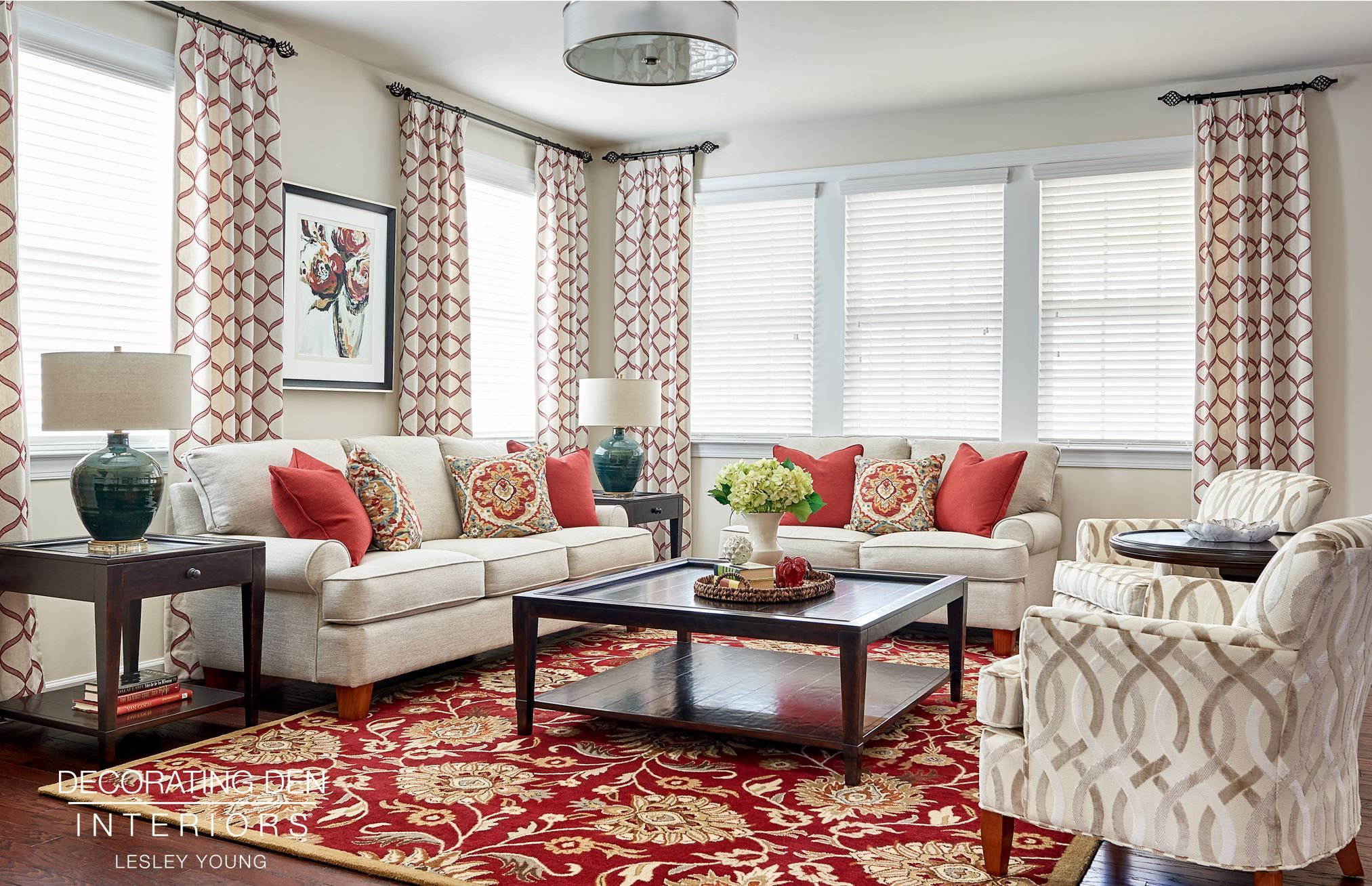 Beautiful Red And Cream Family Room Red Family Rooms Inte