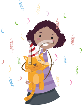 Iclipart Illustration Of A Girl Celebrating The Birthday Of Her Cat Royalty Free Clipart Free Clipart Images Doodle Illustration