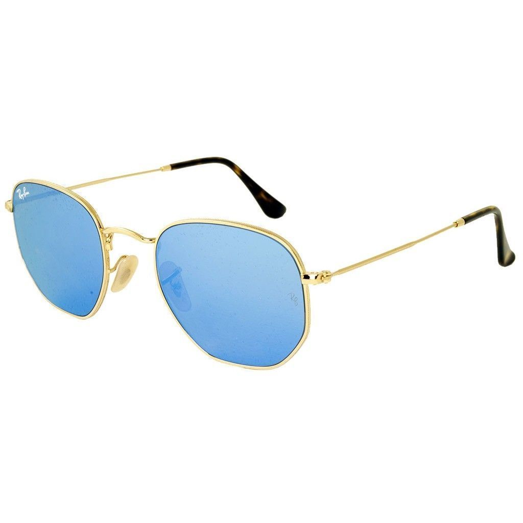bbf2841bd81db Ray-Ban Hexagonal RB3548N 001 9O Men s Gold Frame Light Blue Gradient Flash  Lens Sunglasses (RB3548N 001 9O 51)