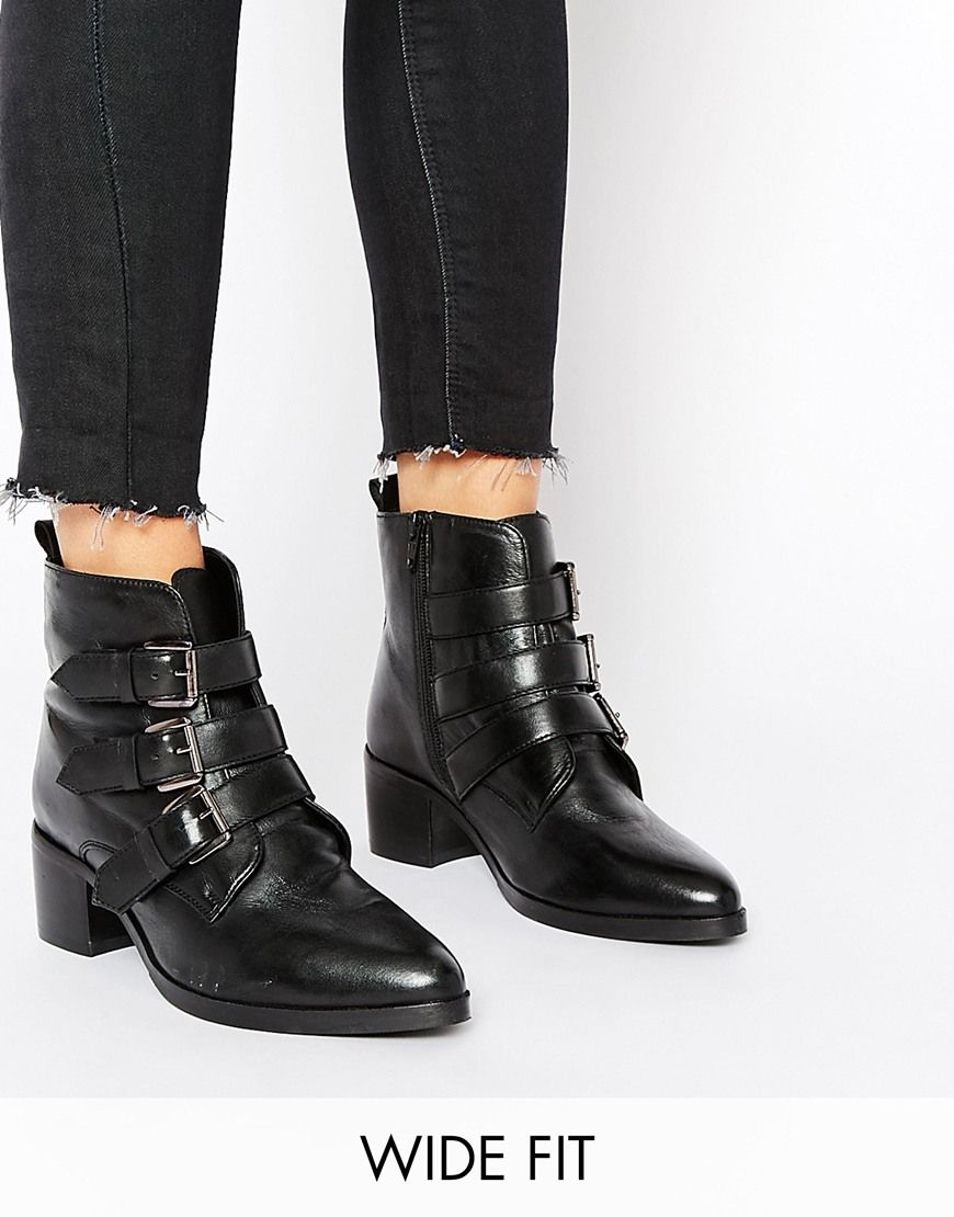 Buy Women Shoes / Asos Roundabout Wide Fit Leather Ankle Boots