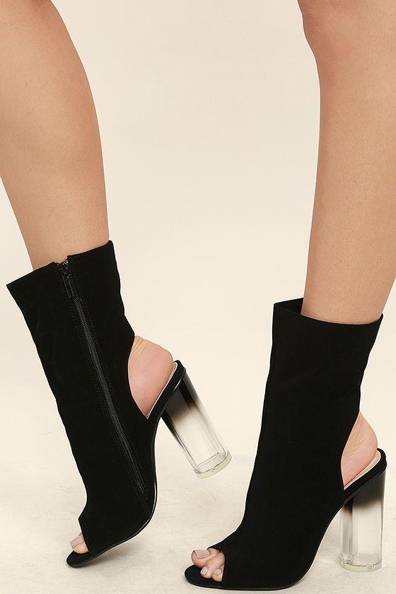#AdoreWe #Lulus Womens - Designer DbDk Wren Black Nubuck Lucite Peep-Toe Mid-Calf Booties - AdoreWe.com