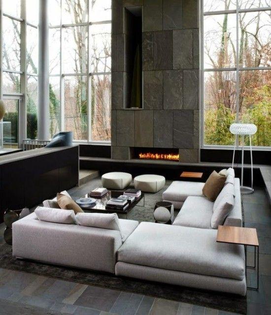 Sala grande moderna con chimenea dise o y decoraci n for Decoracion de salas chicas