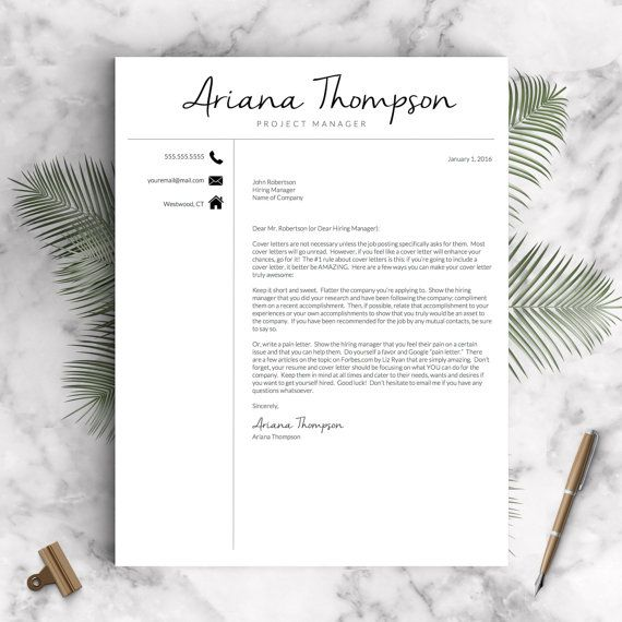Creative Script Resume Template For Word  Pages The Thompson