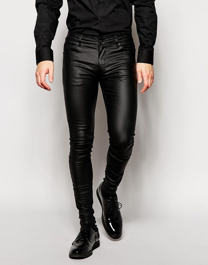 ASOS BRAND ASOS Extreme Super Skinny Jeans In Leather Look ...