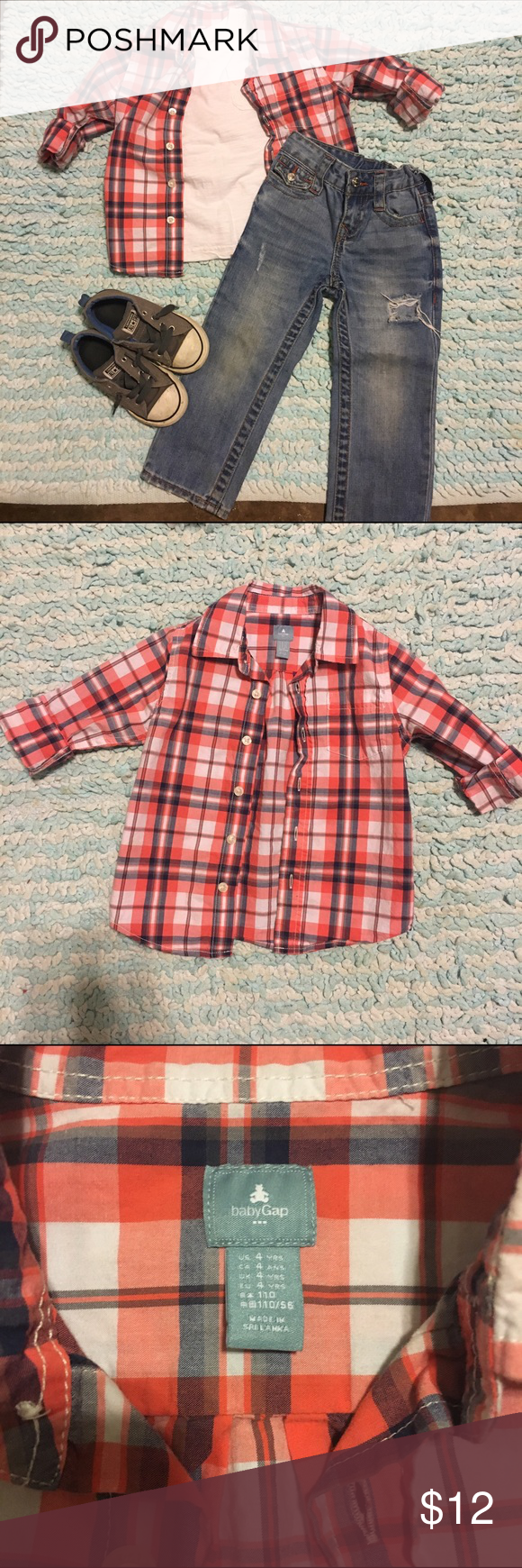 GAP boys long sleeved button up shirt GAP long sleeved button up shirt size 4. Only worn once. I will bundle all items in the picture, I'm just listing them separately for now. GAP Shirts & Tops Button Down Shirts